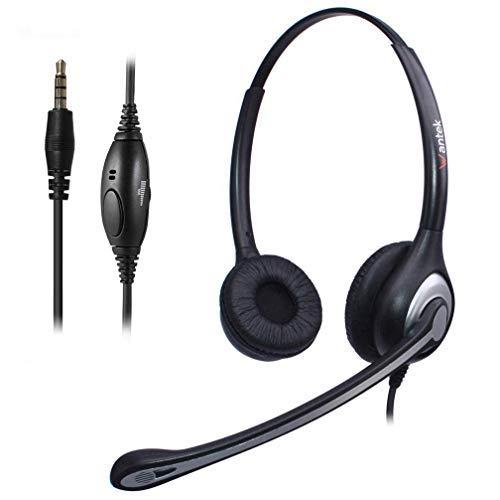 Wantek Wired Cell Phone Headset Dual with Noise Canceling Mic, 3.5mm Phone Headset for iPhone Samsung Galaxy Huawei HTC LG ZTE BlackBerry Mobile Phone iPad Tablet Laptop Mac PC Skype(F602J35)
