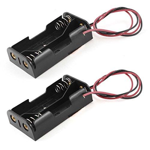 Gfortun 2Pcs Black Plastic 2 X 1.5V Aa Battery Box Case Cell Holder Spring Clip Wire Leads