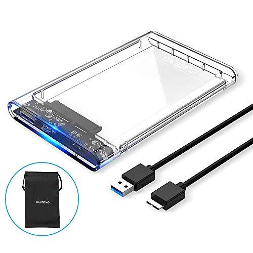 ELUTENG SSD External Hard Drive Enclosure 2.5 inch SATA to USB3.0 UASP Clear Portable Hard Drive Case Max 2T HDD Tool-Free Transparent Compatible for Windows