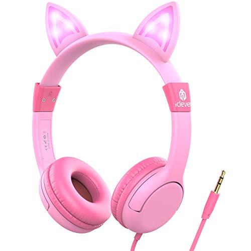 Iclever Kids Headphones Over Ear, Led Backlight, Safe Wired Kids Headsets 85Db Volume Limited, Food Grade Silicone, 3.5Mm Aux Jack, Cat-Inspired Headphones For Kids, Pink, Small