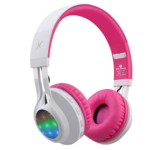 Riwbox Wt-7S Bluetooth Headphones Light Up, Foldable Stero Wireless Headset With Microphone And Volume Control For Pc/Cell Phones/Tv/Ipad (Pink)