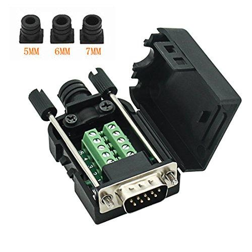 Connector Db9 Rs232 D-Sub Male Serial Adapter 9-Pin Port Adapter To Terminal Connector Signal Module With Case(Male Connector, Db9 5+5 With Case A)