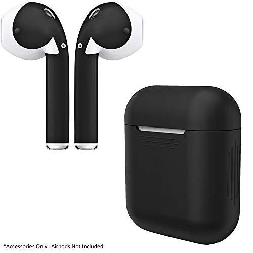 Airpod Charging Protective Case Silicone Cover And Stylish Protective Skins Bundle (Black Case &Amp; Matte Black Skin)