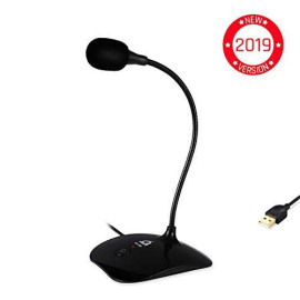 ⭐️KLIM Talk - USB Desk Microphone for Computer - Compatible with any PC, Laptop, Mac, PS4 - Professional Desktop Mic with Stand - Recording, Gaming, Streaming, YouTube, Podcast Mics, Studio Microfono