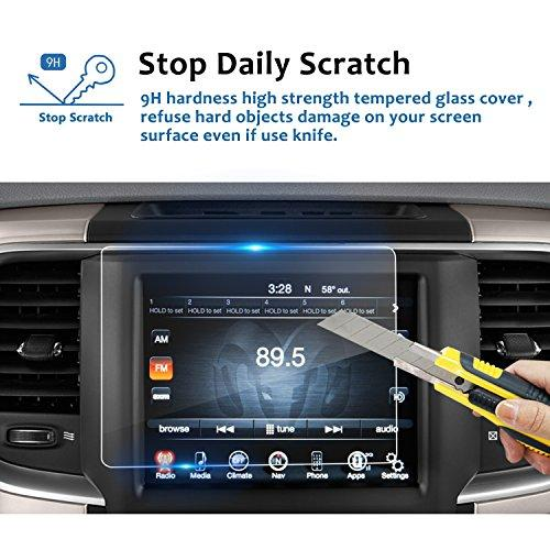 Lfotpp 2013-2019 Ram 1500 2500 3500 Uconnect 8.4 Inch Touchscreen Car Audio Display Screen Protector, Tempered Glass Car Navigation Protective Film High Clarity Anti-Scratch 8.4 Inch 1 Pcs