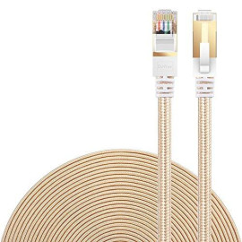 Cat 7 Ethernet Cable, DanYee Nylon Braided 16ft CAT7 High Speed Professional Gold Plated Plug STP Wires CAT 7 RJ45 Ethernet Cable 3ft 10ft 16ft 26ft 33ft 50ft 66ft 100ft (Gold 16ft)