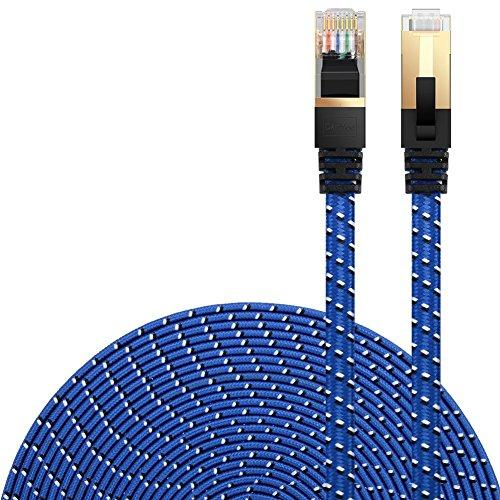 Cat 7 Ethernet Cable, DanYee Nylon Braided 3ft 10ft 16ft 26ft 33ft 50ft 66ft 100ft CAT7 High Speed Professional Gold Plated Plug STP Wires CAT 7 RJ45 Ethernet Cable (Blue 3ft)