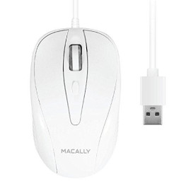 Macally USB Wired Mouse with 3 Button, Scroll Wheel, ; 5 Foot Long Cord, Compatible with Apple Macbook Pro / Air, iMac, Mac Mini, Laptops, Desktop Computer, ; Windows PC (TURBO)