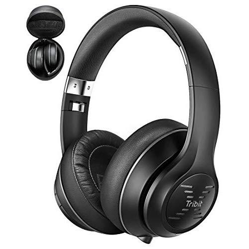 Tribit XFree Tune Bluetooth Headphones Over Ear - Wireless Headphones 40 Hrs Playtime, Hi-Fi Stereo Sound with Rich Bass, Built-in Mic, Soft Earmuffs - Foldable Headset with Carry Case, Black
