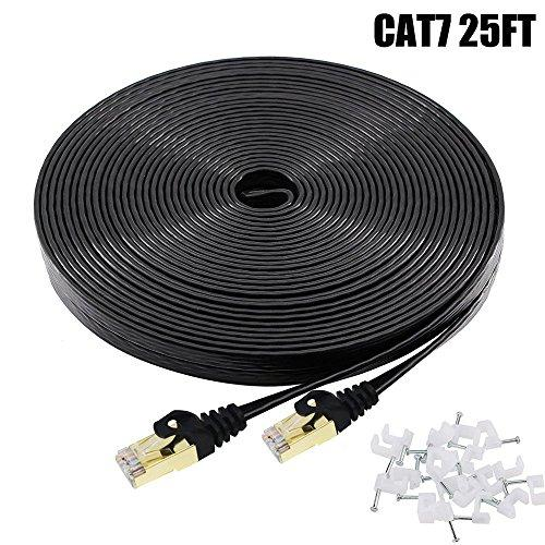 Cat7 Ethernet Cable 25 FT Black, BUSOHE Cat-7 Flat RJ45 Computer Internet LAN Network Ethernet Patch Cable Cord - 25 Feet