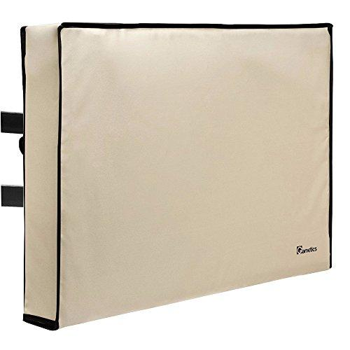 """Outdoor TV Cover 52""""-55"""" inch - Universal Weatherproof Protector for Flat Screen TVs - Fits Most TV Mounts and Stands - Beige"""