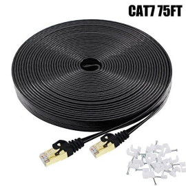 Cat7 Ethernet Cable 75 FT Black, BUSOHE Cat-7 Flat RJ45 Computer Internet LAN Network Ethernet Patch Cable Cord - 75 Feet