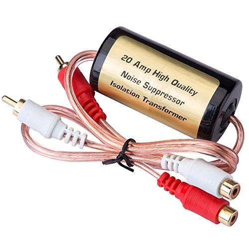 Mr. Ho 20 Amp/12V RCA Car Audio Noise Filter Suppressor Ground Loop Isolator Transformer with Male and Female Plugs