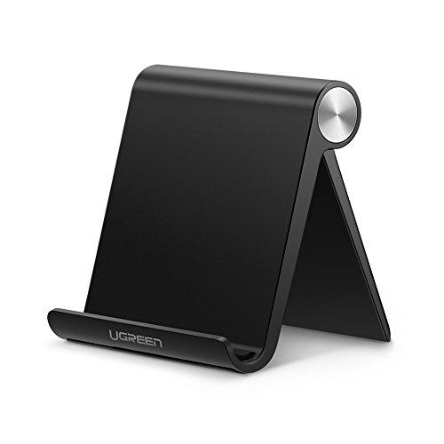 Ugreen Cell Phone Stand Holder Mobile Phone Dock Compatible For Iphone 11 Pro Max Xs Xr 8 Plus 6 7 5 Samsung Galaxy S10 S9 S8 S7 Edge S6 Android Smartphone Holder For Desk Adjustable Foldable (Black)
