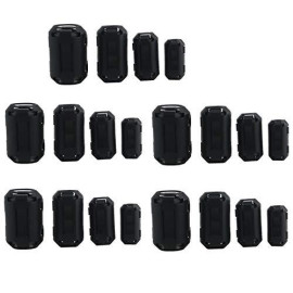 Ogrmar 20PCS EMI RFI Noise Filter Clip/Noise Suppressor Cable Clip for 5mm/ 7mm/ 9mm/ 13mm Inner Diameter USB/Audio/Video Cable Power Cord (Black)