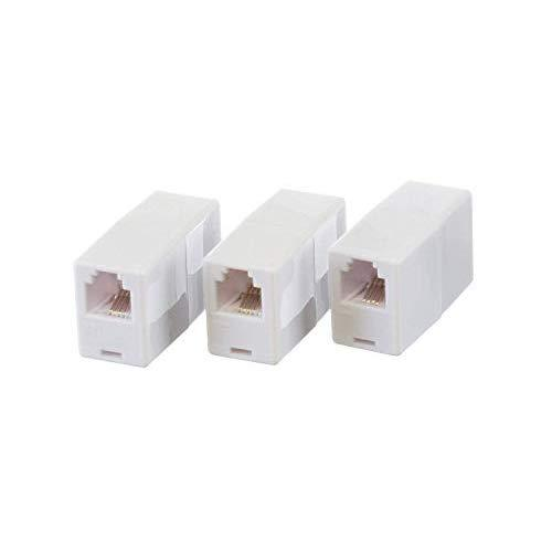 THE CIMPLE CO - Telephone Cord Coupler Phone in Line Coupler - 4 Conductor (2) Telephone Lines - 3 Pack (White)