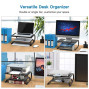 Monitor Stand Riser with Vented Metal Base, 2 Tier Desk Organizer Stand for Laptop Computer, Desktop Printer Stand with Anti-Slip Pads Holds 44lbs, Versatile as Storage Shelf ; Screen Holder (1)