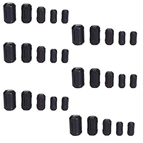 QPOWER 30 Pack Clip-on Ferrite Ring Core RFI EMI Noise Suppressor Cable Clip in 5 Size(3.5mm/ 5mm/ 7mm/ 9mm/ 13mm) Diameter Cable-Black