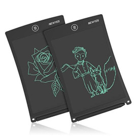 NEWYES 8.5 Inches LCD Writing Tablet Set of Two with Lock Function Office Whiteboard Bulletin Board Kitchen Memo Notice Fridge Board Magnetic Daily Planner Gifts for Kids (Black+Lanyard)