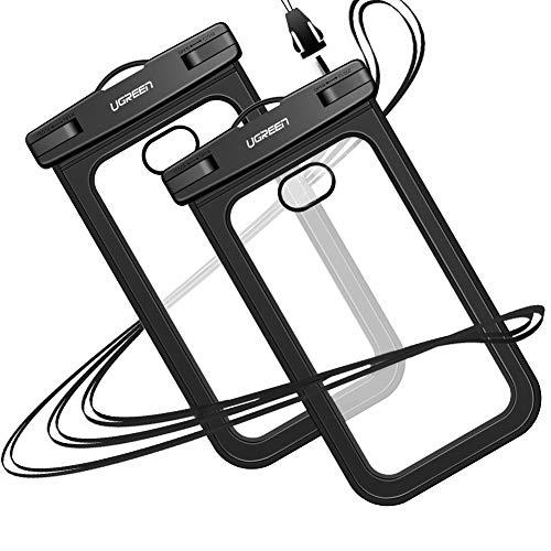 UGREEN Universal Waterproof Case 2Pack,Waterproof Cellphone Pouch Case Dry Bag Underwater Compatible for iPhone X 8 Plus 7 6S 6 5 5S 5C, Samsung Galaxy S10 S9 S8 Plus Note 8 S7 Edge S6, Google Pixel 2