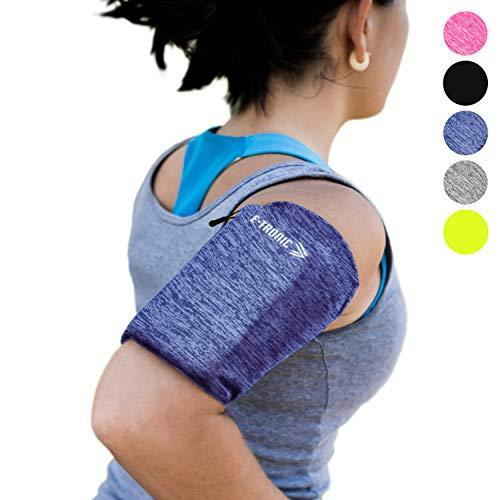 Phone Armband Sleeve: Best Running Sports BLUE Arm Band Strap Holder Pouch Case Exercise Workout Fits iPhone 5S SE 6 6S 7 8 Plus iPod Android Samsung Galaxy S6 S7 S8 Note 4 5 Edge LG HTC Pixel (LARGE)