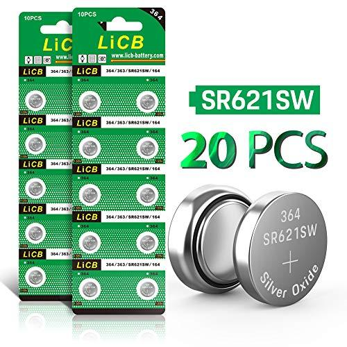 LiCB 20 Pack SR621SW 364 164 363 AG1 Battery 1.5V Button Cell Watch Batteries