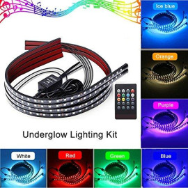 Car LED Multicolor Undercar Glow Waterproof Lights 4PCS Underglow Atmosphere Decoration Bar Lights Kit Strip Musical Sync Light Tube Underbody Sound Actived Wireless Remote Control(60-90cm)