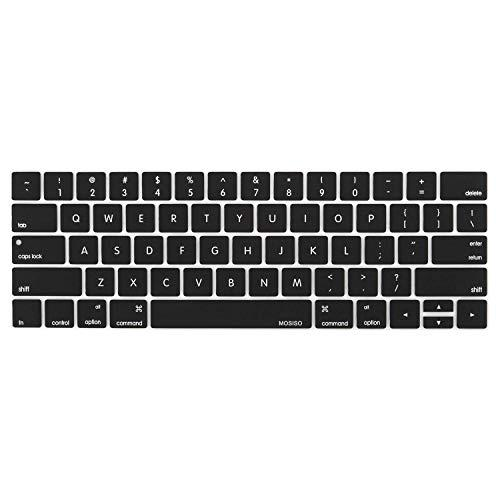MOSISO Keyboard Cover Compatible with MacBook Pro with Touch Bar 13 and 15 Inch 2019 2018 2017 2016 (Model: A2159, A1989, A1990, A1706, A1707), Silicone Skin Protector, Black