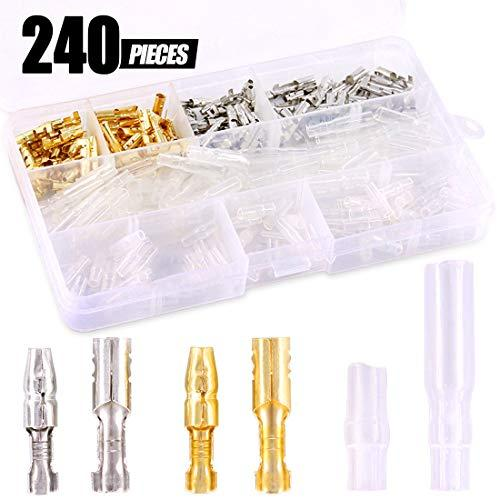 Swpeet 240Pcs Bullet Connectors Kit, 3.9mm Brass Bullet Male ; Female Wire Terminals Connector with Insulation Cover for Motorcycle Scooter Car Truck with Insulation Sleeve