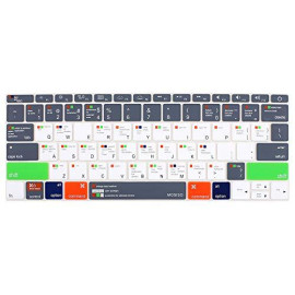 MOSISO Keyboard Cover Compatible with MacBook Pro 13 inch Without Touch Bar 2017 ; 2016 Release A1708, MacBook 12 Inch A1534, Silicone Protective Skin, Mac OS X Shortcut, Gray