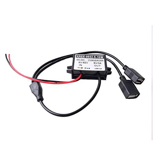 Auto Vehicle Direct Wire Charger, 12V 24V to 5V Dual USB Charging Cable, Car Hard Wired Step Down Converter Power Supply for Dash Camera Car DVR GPS (8-52V Wide Range Input)