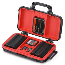 Camera Battery and Memory Card Storage Case, SD CF Memory Cards Holder Case, Waterproof ; Shockproof Plastic Tank Organizer for Nikon, Canon Camera Batteries, Good for Outdoor Travel Use