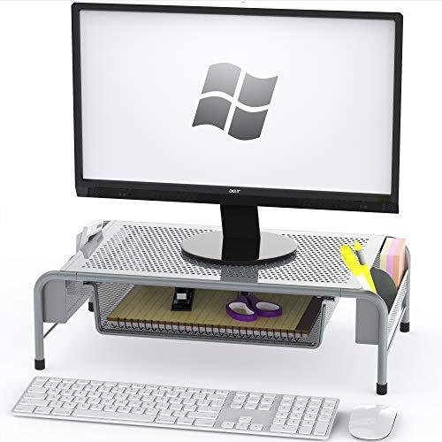 SimpleHouseware Metal Desk Monitor Stand Riser with Organizer Drawer, Silver