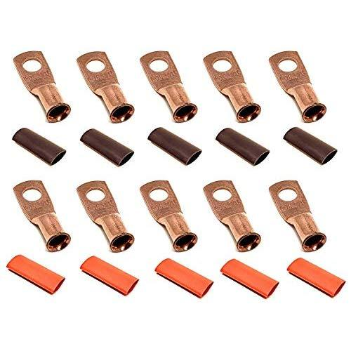 """10pcs 6 Gauge 6 AWG x 5/16"""" Pure Copper UL Listed Cable Lug Terminal Ring Connectors with Dual Wall Adhesive Lined Red + Black Heat Shrink Tubing - by WNI"""