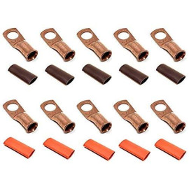 """10pcs 4 Gauge 4 AWG x 3/8"""" Pure Copper UL Listed Cable Lug Terminal Ring Connectors with Dual Wall Adhesive Lined Red + Black Heat Shrink Tubing - by WNI"""