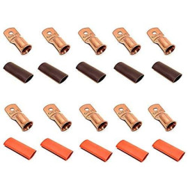 """10pcs 4/0 Gauge 4/0 AWG x 5/16"""" Pure Copper UL Listed Cable Lug Terminal Ring Connectors with Dual Wall Adhesive Lined Red + Black Heat Shrink Tubing - by WNI"""