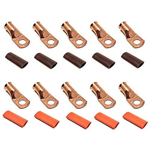 """10pcs 1/0 Gauge 1/0 AWG x 3/8"""" Pure Copper UL Listed Cable Lug Terminal Ring Connectors with Dual Wall Adhesive Lined Red + Black Heat Shrink Tubing - by WNI"""