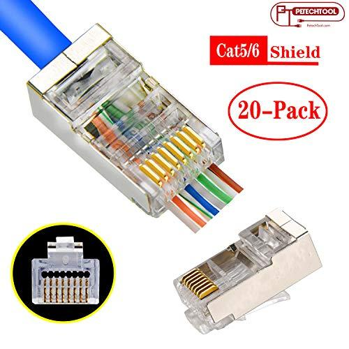 RJ45 CAT5 CAT6 Shielded Connector End Pass Through Gold Plated Ethernet 8P8C Modular Plug 20Pack