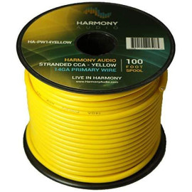Harmony Audio HA-PW14YELLOW Primary Single Conductor 14 Gauge Yellow Power or Ground Wire Roll 100 Feet Cable for Car Audio/Trailer/Model Train/Remote