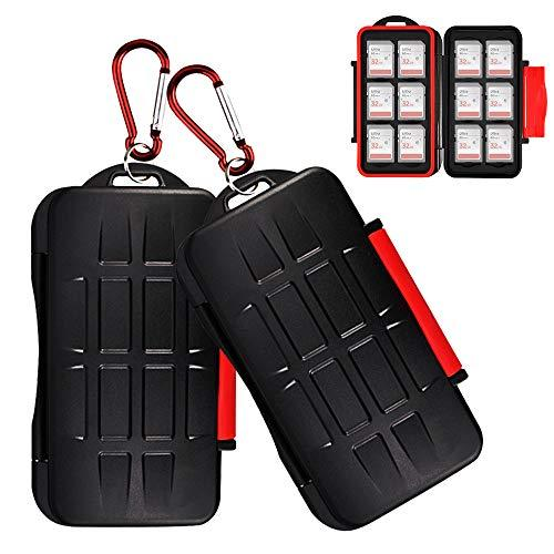 2 Pack Kiorafoto 12 Slots SD SDHC SDXC Card Holder Case Professional Water-Resistant Anti-Shock Memory Card Storage Protector Wallet with Carabiner