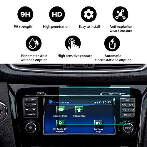 Yee Pin Car Navigation Tempered Glass Screen Protector Nissan Rogue Nissan Connect 2015-2019Center Control Touch Screen, Hd Resistant Scratch Resistance Protective Film (7-Inch Clear)