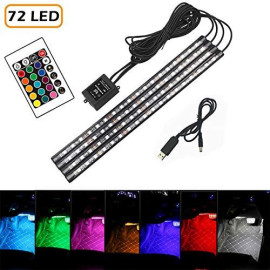16 Color RGB Car LED Strip Light, 4pcs 72 LED Multicolor Music Car Interior Atmosphere Lights Under Dash Lighting Kit, with Sound Active Function, Wireless Remote Control and Smart USB Port