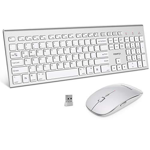 Wireless Keyboard and Mouse Combo,FENIFOX Dual System Switching Double Ergonomic Full-Size USB Whisper-Quiet Compatible with PC Desktop Computer macOS Windows 10(Silver White)