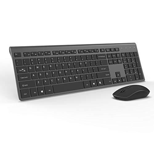 Wireless Keyboard and Mouse Combo-J JOYACCESS Portable Ergonomic Full Size Keyboard and Mouse Rechargeable,2.4GHz Stable Connection,Silent Mouse for Desktop and Laptop-Dark Grey