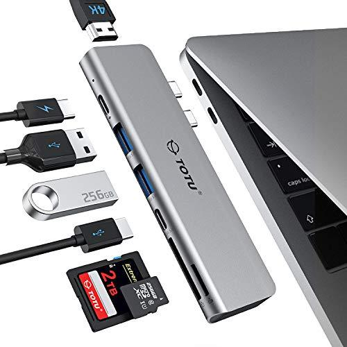 USB C Hub,TOTU 7-in-2 Type C Adapter Docking Station for MacBook Air 2018,MacBook Pro 2016-2018 with 4K HDMI, 100W PD, 40Gbps Thunderbolt3 5K@60Hz,2 USB 3.0, Type C Data Port(5Gbps),SD/TF Card Reader