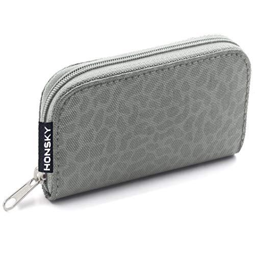 SD Card Case, 22 Slot Zippered Memory Card Holder, Memory Card Case Organizer Storage Wallet for SD Cards, Micro SD Cards, CF SDXC SDHC MMC, Leopard Print,Grey