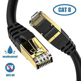 CAT8 Ethernet Cable, Outdoor;Indoor, 10FT Heavy Duty Weatherproof 26AWG Cat8 LAN Network Cable with Gold Plated RJ45 Connector, High Speed for Router, Gaming, Nintendo Switch, Xbox, IP Cam, Modem ...