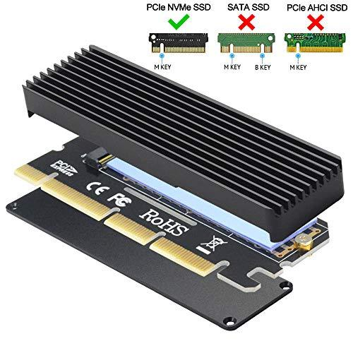 GODSHARK NVME Adapter PCIe x16 with Heat Sink, M.2 SSD Key M to PCI Express Expansion Card, Support PCIe x4 x8 x16 Slot, Support 2230 2242 2260 2280, Compatible for Windows XP / 7/8 / 10
