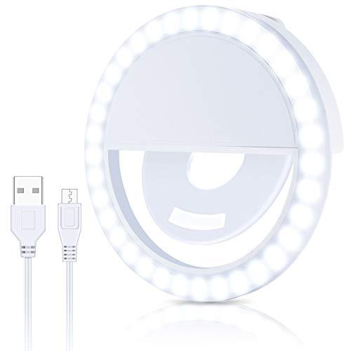 Selfie Cell Phone Ring Light Portable Rechargeable Circle Camera Phone Light With 36 Leds & 3 Brightness Modes This Ringlight Is Ideal For Photography And Videos Use With Android Iphone Laptop & Ipads