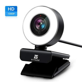 PC Webcam for Streaming HD 1080P, Vitade 960A USB Pro Computer Web Camera Video Cam for Mac Windows Laptop Conferencing Gaming Xbox Skype OBS Twitch Youtube Xsplit GoReact with Microphone ; Ring Light